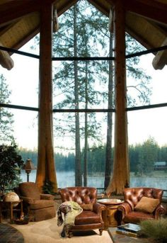 """Here's a lovely example of whole tree architecture, although that view probably does help! Like it? If you'd like to see how others have found unique ways of using trees in their homes, visit our """"Whole Tree Architecture"""" album on our site at http://theownerbuildernetwork.co/ideas-for-your-rooms/home-decorating-gallery/whole-tree-architecture/"""