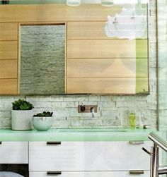 Love the clean lines. Small Bathroom, Bathroom Ideas, Glass Countertops, Eco Green, Kitchen Renovations, Recycled Glass, Camilla, Clean Lines, Jade