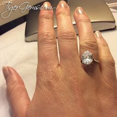 Thank you to my client for this photo of her 4 ct 8 prong oval silver solitaire ring. 💍✨ Click on the link in my bio to Shop Now at TigerGems.com.