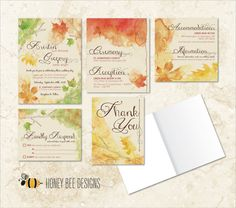 FALL WEDDING Invitation Set - Autumn Watercolor Leaves Themed Invitation Set with RSVP & Thank You Card - Printable Digital File