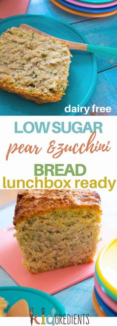 Pear and zucchini bread perfect for lunches and a great way to hide some veggies! Kid friendly and freezer friendly, the best zucchini bread you'll make! Dairy free and low sugar! #kidsfood #lunchbox #recipe