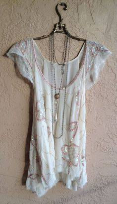 Image of Free People rare champagne pink gypsy tritans treasure holiday blouse