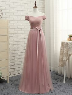 Simple Bridesmaid Dresses, Pink Bridesmaid Dresses, Bridesmaid Dresses For Cheap Bridesmaid Dresses 2018 Tulle Bridesmaid Dress, Affordable Bridesmaid Dresses, Pink Prom Dresses, Beautiful Prom Dresses, Cheap Prom Dresses, Elegant Dresses, Pretty Dresses, Dress Prom, Prom Gowns