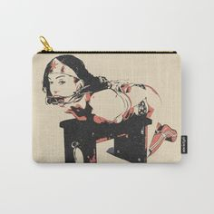 Defeated Heroine 2 in light colors, BDSM, bondage artwork, sexy comic character slave - Organize your life with our Carry-All Pouches. Available in three sizes with wraparound artwork, these pouches are perfect for toiletries, art supplies or makeup. Even an iPad fits into the large size. Features include a faux leather pulltab for easy open and close, a durable canvas-like exterior and a 50/50 poly-cotton black interior lining. Machine washable.