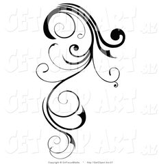 Clip Art of a Long, Black Swirling Design Element Scroll