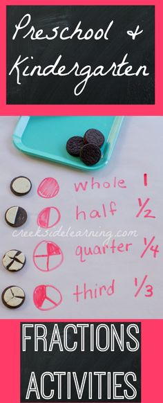 Fractions activities for preschool and kindergarten.