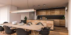 Visualisierung Küche und Esstisch Conference Room, Modern, Table, Furniture, Home Decor, Architecture Visualization, Condominium, New Construction, Cottage House