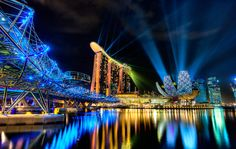 Laser light show, Marina Sands, Singapore