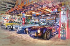 Travel back in time to when American muscle and speed ruled the road! This High Dynamic Range (HDR) image was captured by Linda Berman at Darr's, a private collection of cars, trucks, and automobile/service station relics in the Mojave Desert. The dramatic and detailed photograph features an AC Cobra, a Tri-Five, and a pair of first-gen Camaros. Starts at $24.95