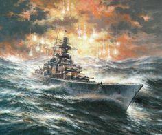 Scharnhorst-class battleship in high seas