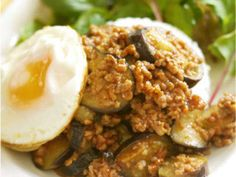 Japanese-Style Eggplant & Ground Meat Bolognese on Rice Recipe by cookpad. Rice Recipes, Great Recipes, Soft Boiled Eggs, Grated Cheese, Ground Meat, Bolognese, Japanese Style, Easy Cooking, Eggplant