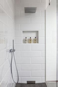 90 Insane Rustic Farmhouse Shower Tile Remodel Ideas - nancey news White Tile Shower, White Bathroom Tiles, Laundry In Bathroom, Small Bathroom, Large Tile Shower, Bathroom Shelves, Metro Tiles Bathroom, Bathroom Ideas, Tile Bathrooms