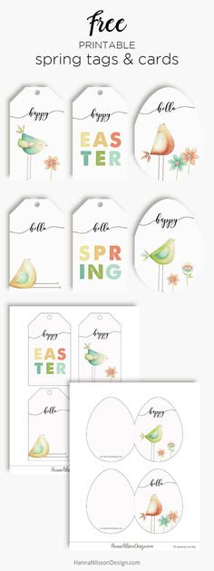 Spring tags and egg shaped cards | Easter greetings | Free spring printables | #printables #easter #spring #cards #tags