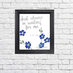 Forget Me Not Printable 8 x 10 JPEG - Just Always Be Waiting for Me - Watercolor Print  - Digital Art - Instant Download - Parting Gift