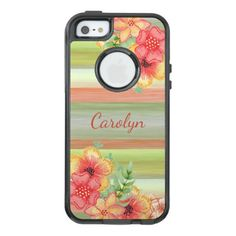 Custom Coral Red Lime Green Watercolor Floral OtterBox iPhone 5/5s/SE Case - chic gifts diy elegant gift ideas personalize
