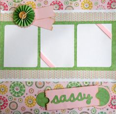 Sassy premade 12x12 scrapbook page by lovethatscrap on Etsy, $8.00