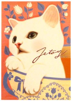 Jetoy White Cat Teacup Postcard