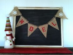 Noel Christmas Decoration Burlap Banner Triangle by SweetThymes