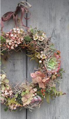 beautiful wreath with sedum and viburnum...   sublime !