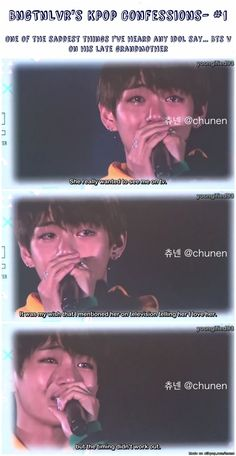 Dear Taehyung, I hope that the pain you feel will eventually cease and though it will never be gone, it might become more bearable with time. Please let the other members support and love you at this time, whilst you take time to heal. We appreciate all that you do for us and that you've continue to work for your fans. We know your grandmother is so proud of you and loves you even though she's not here physically. When times are hard turn to your ever loving fans, or friends or family and…