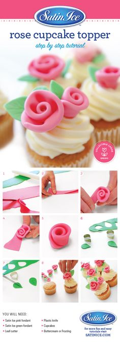 DIY easy as 1-2-3 pink fondant roses for cupcakes by Satin Ice!