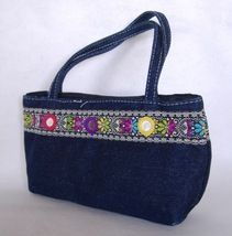 Blue Jeans Denim Purse Sky High Accessories Mirrors Fabric Handbag Tote