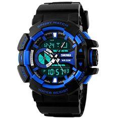 Panegy Outdoor Waterproof Boys Girls Cool Sport Digital Alarm Stopwatch Chronograph Wrist Watch Gift Display - Blue