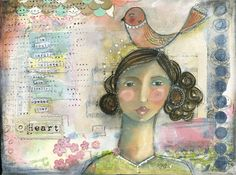 """Kelly Rae Roberts.  This print is called """"When She Finally Opened Her Heart"""" and reads, """"she could hardly believe all that was waiting when she finally opened her heart."""""""