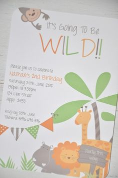 Pack 10 Jungle Party Invitations - by Gina.H.Designs on madeit