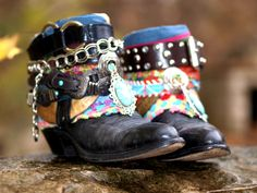boho black tribal boots from TheLookFactory on Etsy