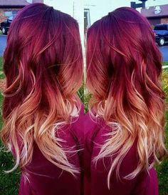 Burgundy-blonde ombre hair