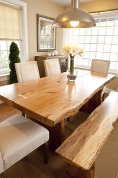 Made from solid wood and iron, your Live Edge Wood Dining Table is hand-sanded, finished and sealed with a durable finish to preserve its raw edge and rustic wood grain. Thanks to natural variations a Dinning Room Tables, Dining Table Design, Dining Area, Kitchen Dining, Dining Rooms, Dining Table With Bench, Rustic Dining Tables, Kitchen Wood, Diy Table