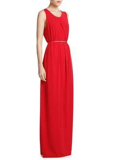 Pleated neck long dress