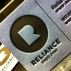 Currently browsing Reliance Business Cards for your design inspiration Letterhead Design, Logo Design, Stationery Design, Graphic Design Typography, Professional Business Card Design, Business Design, Embossed Business Cards, Name Card Design, Letterpress Printing