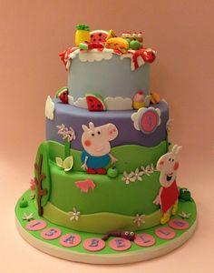 Peppa Pig themed 2nd birthday cake! www.vintagehousebakery.co.uk