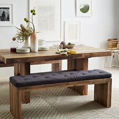 Emmerson Reclaimed Wood Dining Bench #westelm I like the idea of a table in the living room next to couches, could be perfect!!