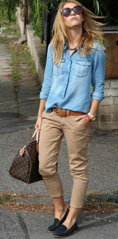 Beige trousers and denim shirts, loafers and sunglasses... Keep it casual, stay stylish...