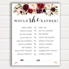 Would She Rather Game, Marsala Flowers, Bridal Shower Game, Ice Breaker Game, What Would Bride Do, Funny Bachelorette Games, Bridal Party