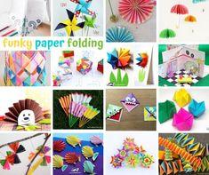 Funky paper folding Paper Rosettes, Paper Flowers, Folded Paper Stars, Paper Folding Techniques, Paper Bracelet, Paper Fish, Paper Umbrellas, Paper Crowns, Origami Butterfly