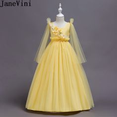 f1200aef3c2 JaneVini Princess Yellow Tulle Flowers Girls Ball Gowns Long Flower Girls  Dresses Kids A Line Pageant