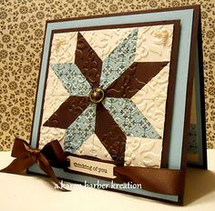 looks like a quilt. by Karen Barber, Stamper's Diary. Stampin' Up! Patchwork Cards, Paper Quilt, Sewing Cards, Marianne Design, Card Patterns, Scrapbook Cards, Scrapbooking, Card Tutorials, Paper Cards