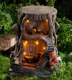 Two-Story Lighted Fairy House in Fairies Dragons and Fantasy