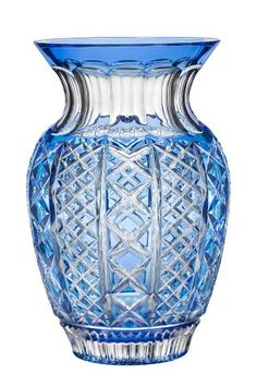 """Waterford Cased Crystal Molly 12"""" Lt Blue Bouquet Vase"""