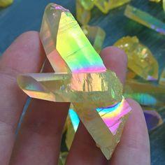 Large Sunshine Yellow Lemon Magic Aura Quartz Crystal Point Cluster - dreamclub