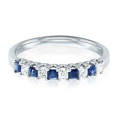 0.25 Carat Diamond & Blue Sapphire Band In Solid 14K Yellow Gold by JewelryHub on Opensky