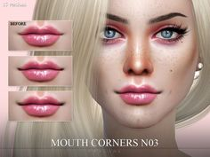 5 different mouthcorners for either left, right or both sides.  Found in TSR Category 'Sims 4 Female Skin Details'