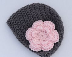 Baby girl crochet grey and pink flower beanie - girl winter hat - crochet baby hat - infant hat - MADE TO ORDER