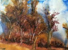 Watercolour Landscape Painting 1 Small Original by ArtByAune