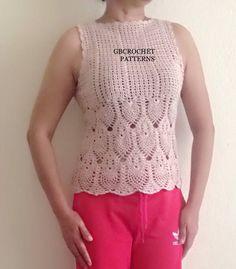 Top crochet Pattern, women vest Pattern, Elegant Crochet Top, pineapple Crochet pattern, chart pattern, step by step pdf, 22PDF1 by GBCrochetPatterns on Etsy https://www.etsy.com/listing/276142308/top-crochet-pattern-women-vest-pattern