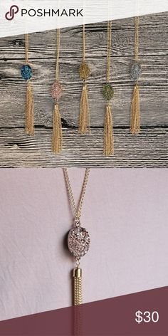 💜 Druzy Tassel Necklace ~COMING SOON ~ **Druzy Tassel Necklace** Gold chain 30 inches long Your choice of druzy color: Rose gold, Gold, silver and blue.  I BUNDLE Reasonable offers considered Follow me madisoncarolina  Jewelry Necklaces